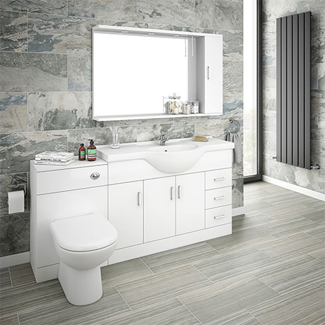 Cove 1700mm Vanity Unit Suite + Tap (High Gloss White - Depth 330mm)