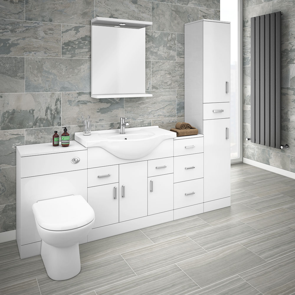 Cove 2020mm Bathroom Furniture Pack (High Gloss White ...