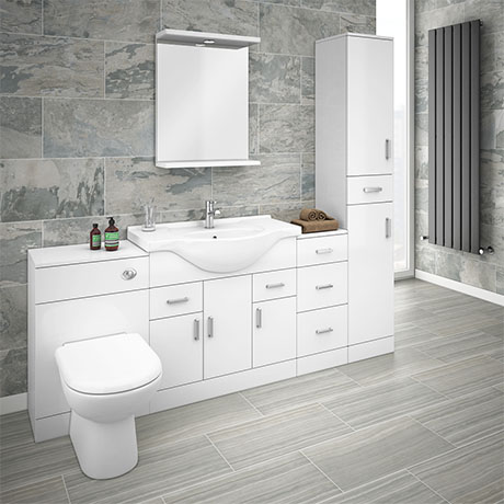 Cove 2020mm Bathroom Furniture Pack (High Gloss White - Depth 330mm)