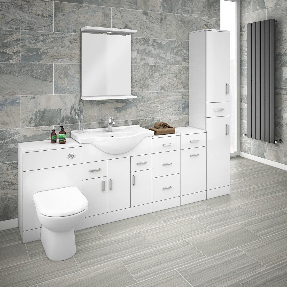 Cove 2270mm Bathroom Furniture Pack (High Gloss White - Depth 330mm)