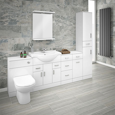 Cove 2070mm Bathroom Furniture Pack (High Gloss White - Depth 330mm)