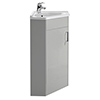 Cove Floor Mounted Corner Vanity Unit - Light Grey - 555mm with Chrome Handle profile small image view 1