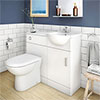 Cove 950mm Cloakroom Vanity Unit Suite + Basin Mixer (Gloss White - Depth 300mm) profile small image view 1