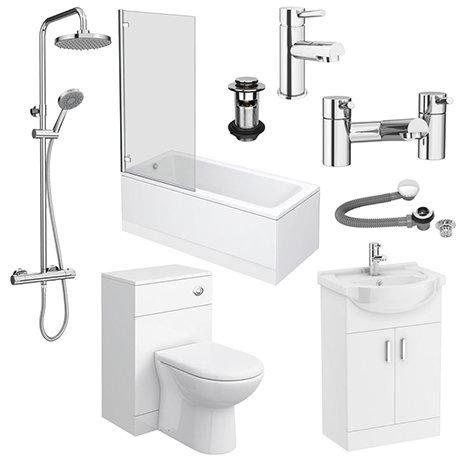 Cove Complete Modern Bathroom Package (Inc. Standard Shower Bath)