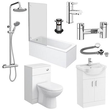 Cove 550 Complete Modern Bathroom Package (Inc. Standard Shower Bath)