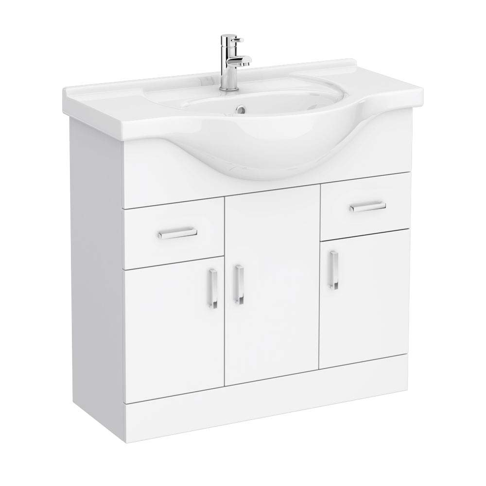 Cove White 850mm Vanity Unit profile large image view 1