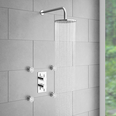 Cruze Concealed Thermostatic Valve with Diverter, Fixed Shower Head + 4 Body Jets