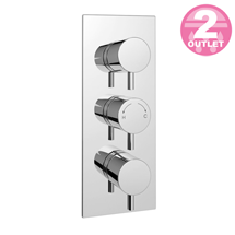 Cruze Triple Round Concealed Thermostatic Shower Valve - Chrome Medium Image