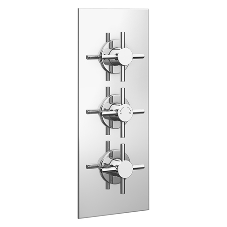 Pablo Triple Crosshead Concealed Thermostatic Shower Valve - Chrome
