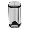 simplehuman 10 Litre Butterfly Pedal Bin - Brushed Steel - CW1899 profile small image view 1