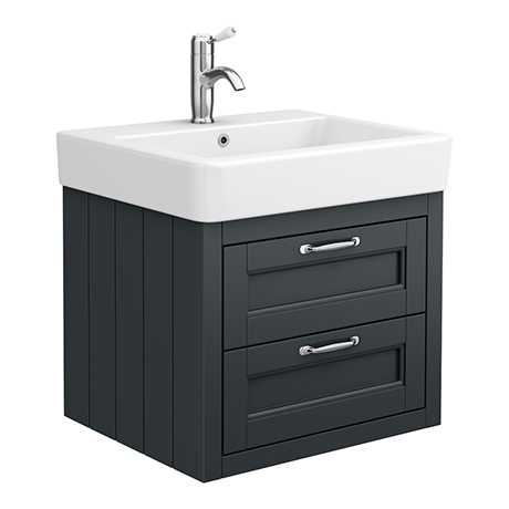 Chatsworth Traditional Graphite 560mm 2 Drawer Wall Hung Vanity