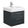 Chatsworth Traditional Graphite 560mm 2 Drawer Wall Hung Vanity profile small image view 1