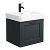 Chatsworth Traditional Graphite Wall Hung Vanity - 560mm Wide with Matt Black Handle profile small image view 1