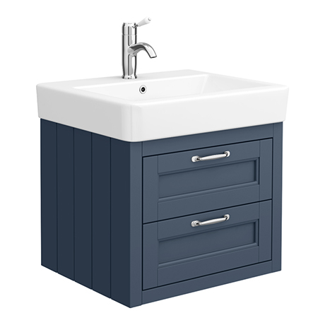 Chatsworth Traditional Blue 560mm 2 Drawer Wall Hung Vanity
