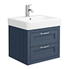 Chatsworth Traditional Blue 560mm 2 Drawer Wall Hung Vanity profile small image view 1
