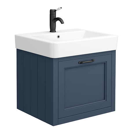 Chatsworth Traditional Blue Wall Hung Vanity - 560mm Wide with Matt Black Handle