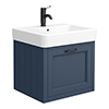 Chatsworth Traditional Blue Wall Hung Vanity - 560mm Wide with Matt Black Handle profile small image view 1