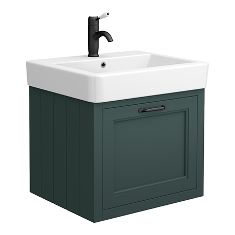 Chatsworth Traditional Green Wall Hung Vanity - 560mm Wide with Matt Black Handle
