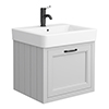 Chatsworth Traditional Grey Wall Hung Vanity - 560mm Wide with Matt Black Handle profile small image view 1