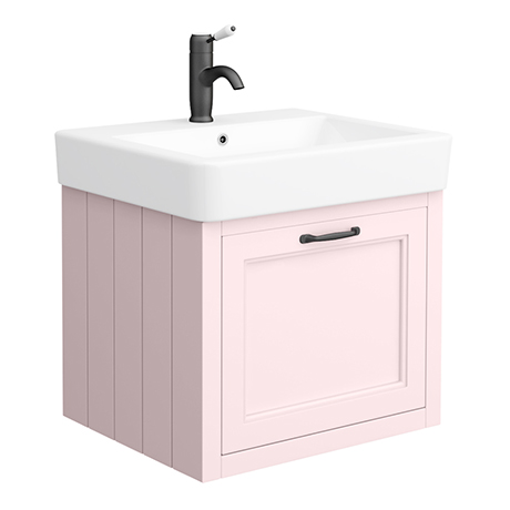 Chatsworth Traditional Pink Wall Hung Vanity - 560mm Wide with Matt Black Handle