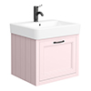 Chatsworth Traditional Pink Wall Hung Vanity - 560mm Wide with Matt Black Handle profile small image view 1
