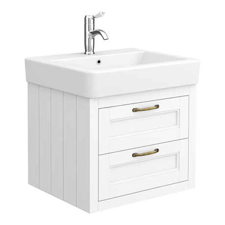 Chatsworth Traditional White 560mm 2 Drawer Wall Hung Vanity