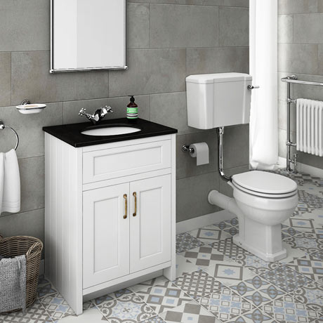 Chatsworth White Black Marble 4-Piece Low Level Bathroom Suite