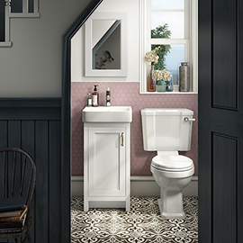 Chatsworth Traditional White Cloakroom Suite (Vanity Unit + Close Coupled Toilet)
