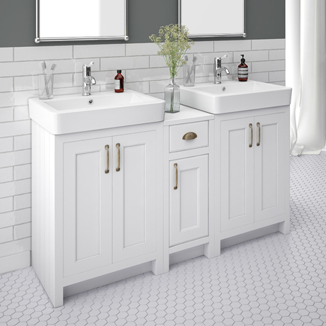 Chatsworth Traditional White Double Basin Vanity + Cupboard Combination Unit