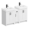 Chatsworth Traditional White Double Basin Vanity + Cupboard Combination Unit with Matt Black Handles profile small image view 1