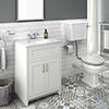 Chatsworth White Marble 4-Piece Low Level Bathroom Suite profile small image view 1