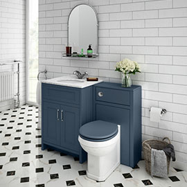 Chatsworth White Marble Traditional Blue Vanity Unit + Toilet Package