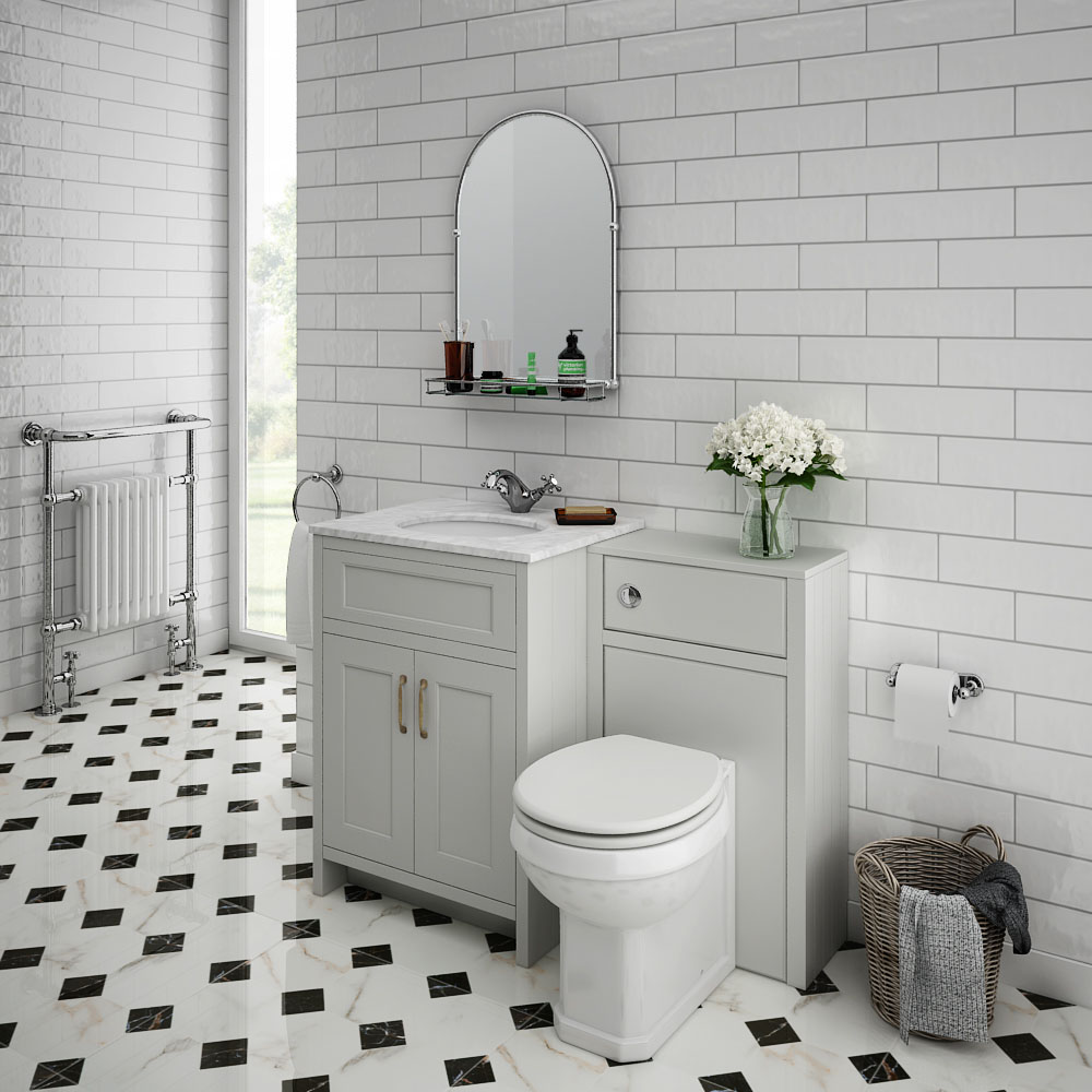 Chatsworth White Marble Traditional Grey Vanity Unit + Toilet Package