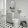 Chatsworth White Marble Traditional Grey Vanity Unit + Toilet Package profile small image view 1