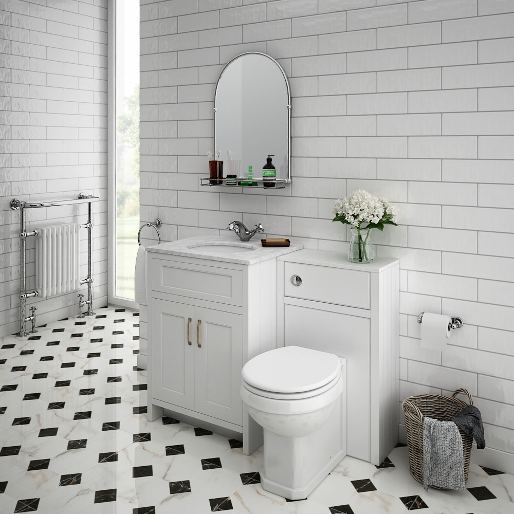 Chatsworth White Marble 610mm Traditional White Vanity Unit + Toilet Package