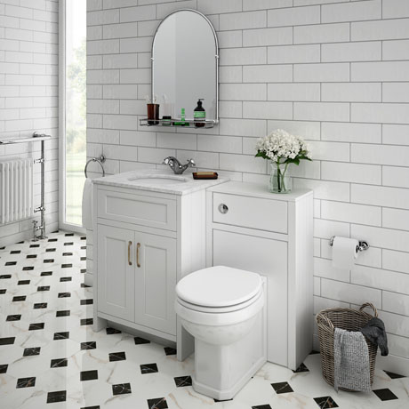Chatsworth White Marble Traditional White Vanity Unit + Toilet Package