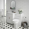 Chatsworth White Marble Traditional White Vanity Unit + Toilet Package profile small image view 1