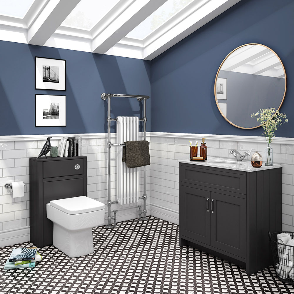 Chatsworth White Marble 810mm Traditional Graphite Vanity Unit + Toilet Package