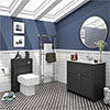 Chatsworth White Marble 810mm Traditional Graphite Vanity Unit + Toilet Package profile small image view 1