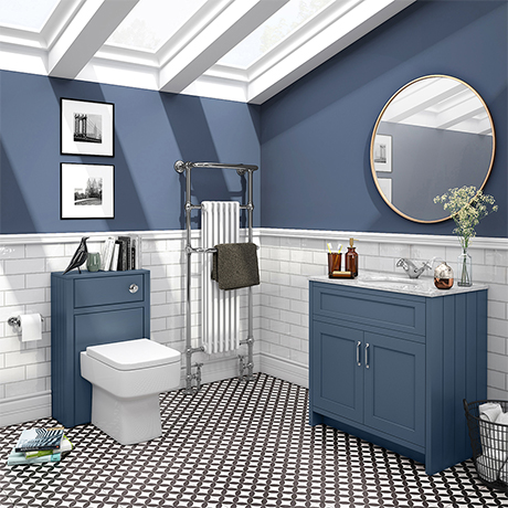 Chatsworth White Marble 810mm Traditional Blue Vanity Unit + Toilet Package