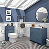 Chatsworth White Marble 810mm Traditional Blue Vanity Unit + Toilet Package profile small image view 1