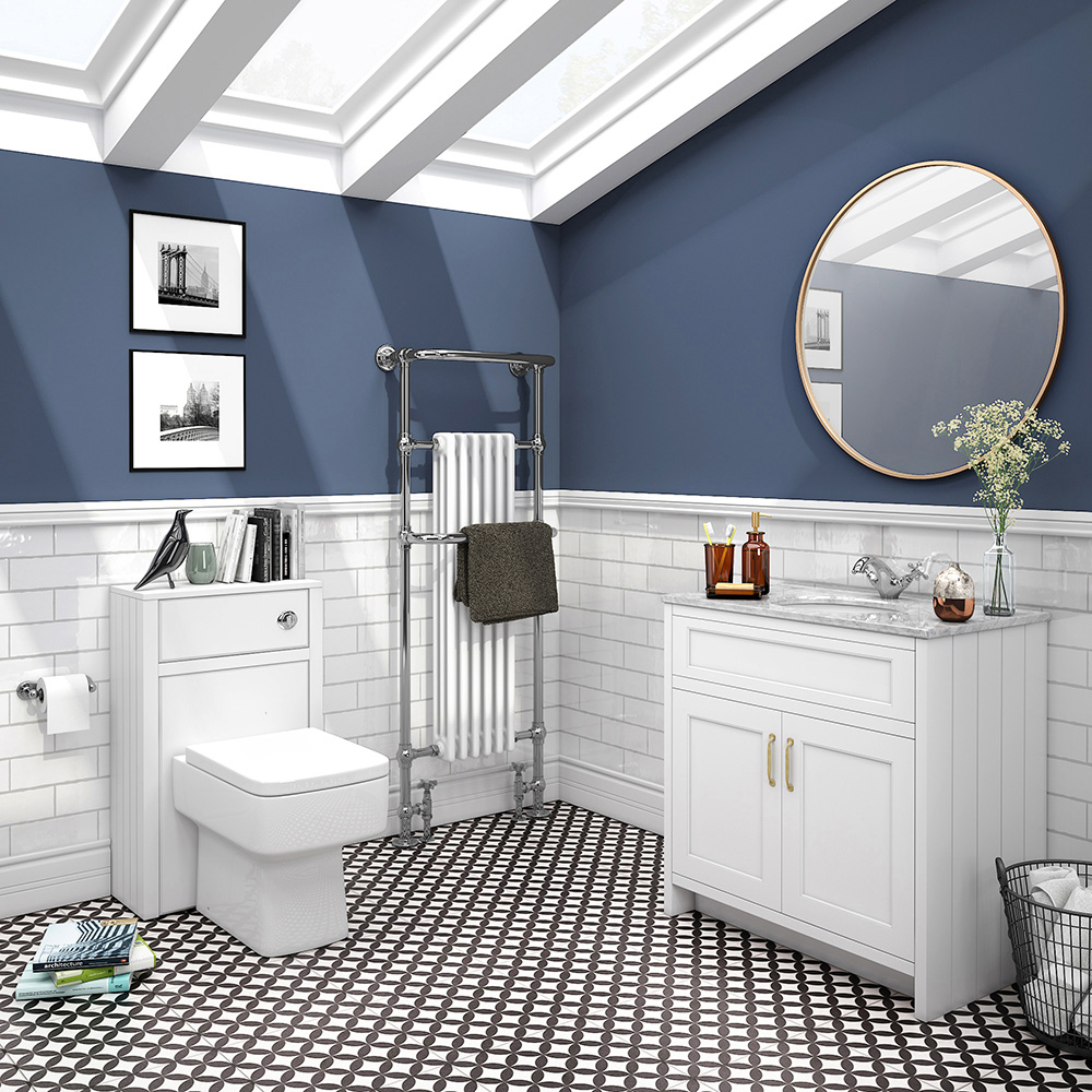 Chatsworth White Marble 810mm Traditional White Vanity Unit + Toilet Package
