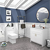 Chatsworth White Marble 810mm Traditional White Vanity Unit + Toilet Package profile small image view 1