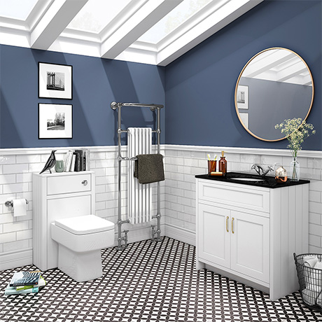 Chatsworth Black Marble 810mm Traditional White Vanity Unit + Toilet Package