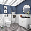 Chatsworth Black Marble 810mm Traditional White Vanity Unit + Toilet Package profile small image view 1