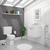 Chatsworth White Cloakroom Suite (Wall Hung Vanity Unit + Close Coupled Toilet) profile small image view 1