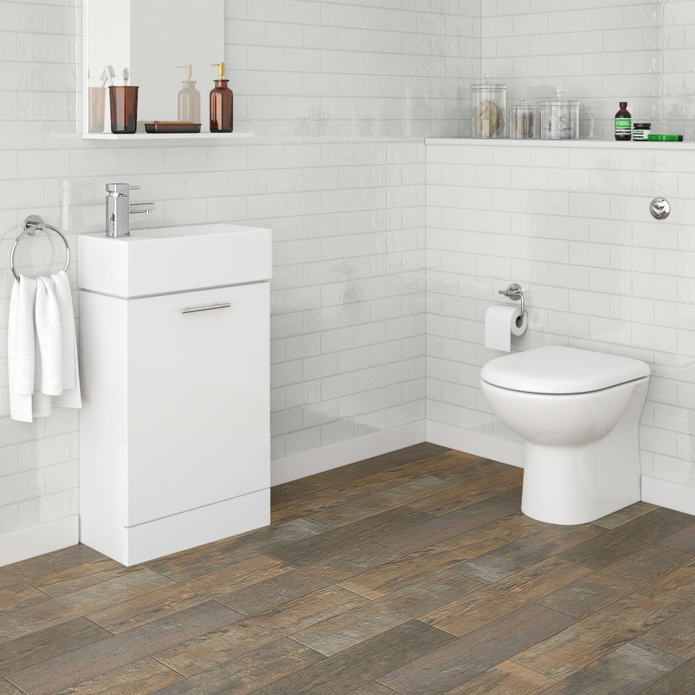 Nuie Cubix Gloss White Vanity Unit with Concealed Cistern, D-Shaped BTW Pan & Soft Close Seat