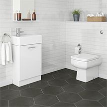 Premier - Cubix Gloss White Vanity Unit with Concealed Cistern, Square BTW Pan & Soft Close Seat Med