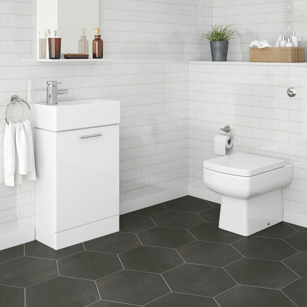 Nuie Cubix Gloss White Vanity Unit with Concealed Cistern, Square BTW Pan & Soft Close Seat