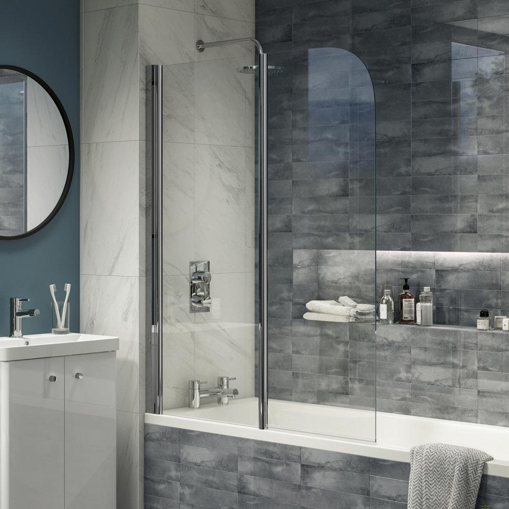 Cruze 1100 x 1400 Chrome 6mm Bi-Fold Hinged Bath Screen